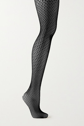 Wolford Jeanne Swarovski Crystal-embellished Fishnet Tights - Black