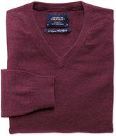 Charles Tyrwhitt Wine Cotton Cashmere V-Neck Jumper Size XS