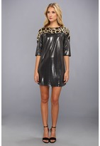 T-Bags Tbags Los Angeles - 3/4 Sleeve Shift Dress w/ Gold Web Sequins (Silver) - Apparel