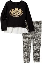 Juicy Couture Scottie Dog Ruffle Bottom Tunic & Leopard Print Pant Set (Toddler Girls)