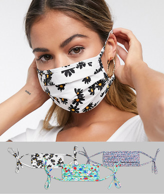 ASOS DESIGN 3 pack face covering in floral prints