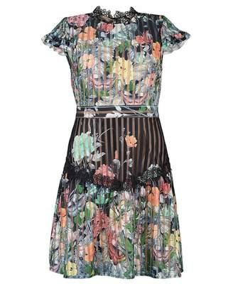 Foxiedox Flora Floral Striped Mini Dress Colour: BLACK, Size: 8
