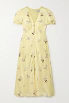 Thumbnail for your product : Self-Portrait Alyssa Floral-print Satin Midi Dress - Yellow