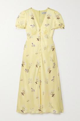 Self-Portrait Alyssa Floral-print Satin Midi Dress - Yellow