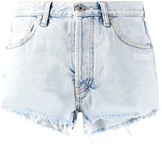Off-White Bleached-Effect Denim Shorts