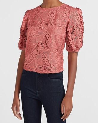Express Lace Ruffle Puff Sleeve Top