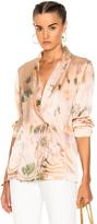 Raquel Allegra Wrap Tie Blazer Jacket in Ombre & Tie Dye,Pink,Purple.
