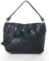 Kooba Black Leather Tied Woven Trim Small Shoulder Handbag