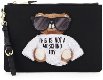 Moschino TEDDY BEAR POUCH OS Black, White Technical