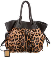 Dolce & Gabbana Leopard Print Pony Hair Hobo Bag