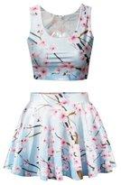 Uideazone Womens Unicorn Crop Top Skater Skirt 2 Pieces Set Dress