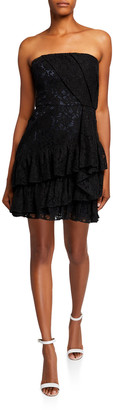 Parker Sinclair Strapless Lace Bustier Mini Dress with Side Ruffle