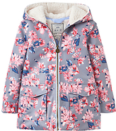 Joules Little Joule Girls' Fleece Lined Waterproof Coat, Soft Grey