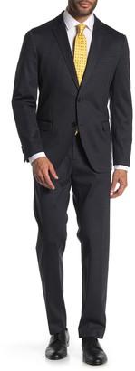 Savile Row Co Grey Chevron Two Button Notch Lapel Knit Trim Fit Suit