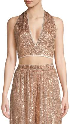 TFNC Sane Sequin Halter Crop Top