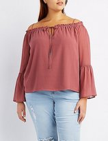 Charlotte Russe Plus Size Bell Sleeve Cold Shoulder Blouse