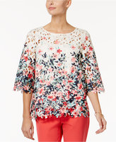 Charter Club Petite Floral-Print Lace Top, Created for Macy's