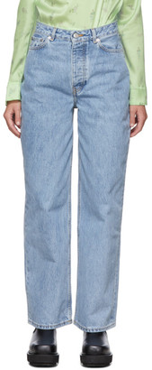Ganni Blue Denim Low-Rise Jeans