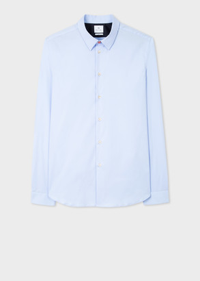 Paul Smith Men's Slim-Fit Sky Blue Stretch-Cotton Shirt With 'Sports Stripe' Cuff Lining