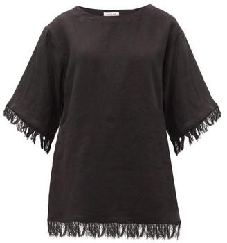 Fil De Vie Riad Fringed Linen-poplin T-shirt - Black