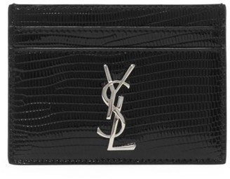 Saint Laurent Monogram Croc-Embossed Leather Card Case