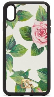 Dolce & Gabbana Dauphine Rose-print Leather Iphone Xs Max Case - White Multi