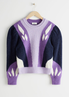 And other stories Colour Block Puff Shoulder Sweater