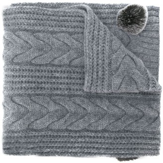 N.Peal Pom-Pom Cable Knit Scarf