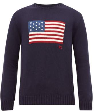 Polo Ralph Lauren Flag Intarsia Cotton Sweater - Mens - Navy