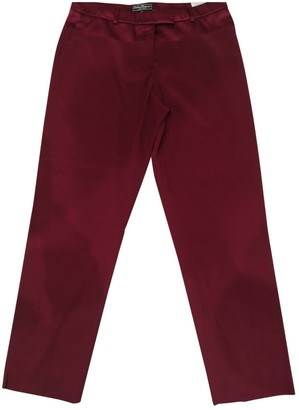 Salvatore Ferragamo Burgundy Synthetic Trousers