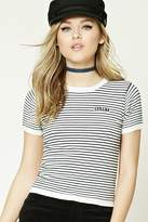 Forever 21 FOREVER 21+ Stripe Sassy Patch Top