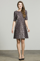 Taylor Boat Neck Printed Short Dress 8447M