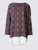 Marks and Spencer PLUS Pure Cotton Printed Jersey Top