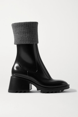 Chloé Betty Ribbed-knit And Rubber Boots - Black