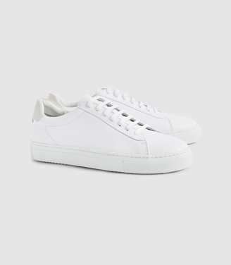 Reiss FINLEY LEATHER TRAINERS White