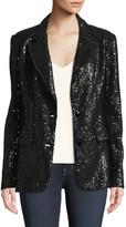 Berek Plus Size Two-Button Notch-Lapel Sequined Blazer