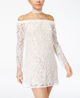 Speechless Juniors' Off-The-Shoulder Lace Dress