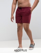 Asos Plus Swim Shorts In Burgundy In Mid Length