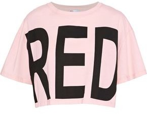 RED Valentino Cropped Printed Cotton-jersey T-shirt