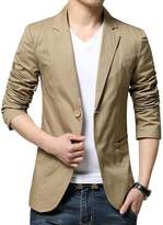 Benibos Mens Slim Fit Single Breasted Peaked Lapel 2 Buttons Jacket Blazer