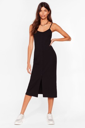 Nasty Gal Womens Come On Button-Down Ribbed Midi Dress - Black - 10