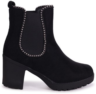 Linzi SUMMIT - Black Suede Chunky Cleated Sole Chelsea Style Boot With Studded Detail