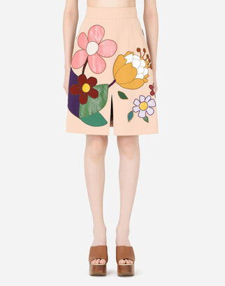 Cady midi skirt with floral patches