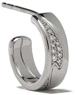 Georg Jensen 18kt white gold small Fusion diamond hoop earrings