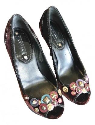 Celine Burgundy Velvet Heels