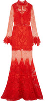 Jonathan Simkhai Guipure Lace Gown - Red
