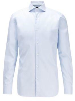HUGO BOSS Slim Fit Shirt In Anti Wrinkle Cotton - Light Blue