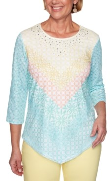 Alfred Dunner Spring Lake Printed Chevron-Striped Top