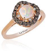 LeVian Chocolatier Square Neopolitan Opal, Vanilla and Chocolate Diamond Ring