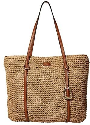 Lauren Ralph Lauren Crochet Straw Medium Tote (Natural) Handbags